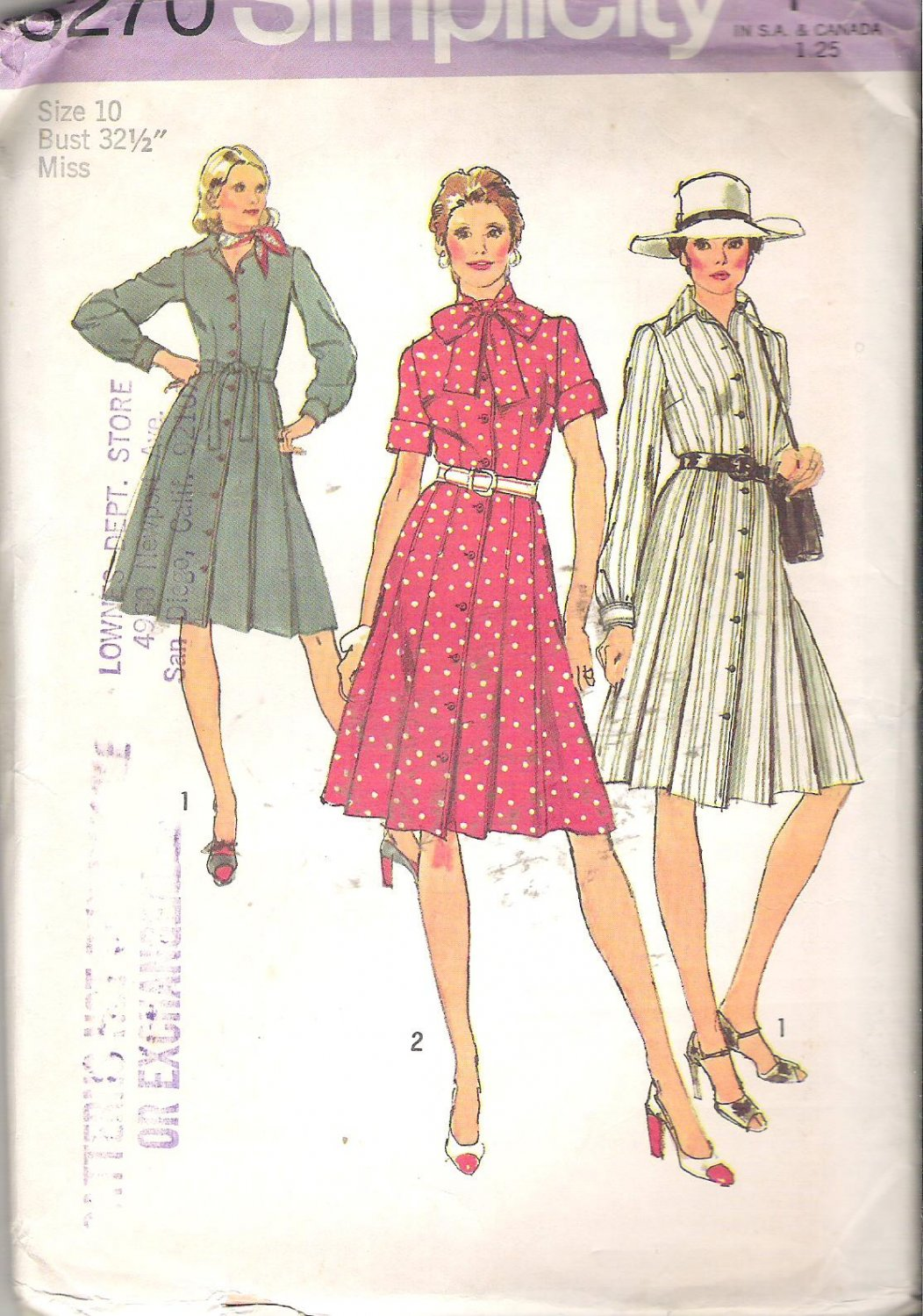 Simplicity 6270 (1974) Button Front Shirt Dress Front Pleats Long Short Sleeves Size 10 Uncut