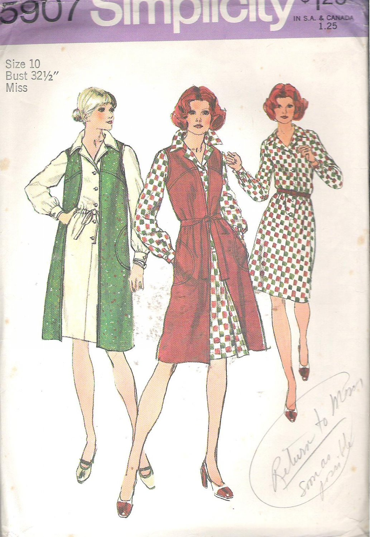 Simplicity 5907 (1973) Vintage Pattern Elastic Waist Dress Long Vest Size 10