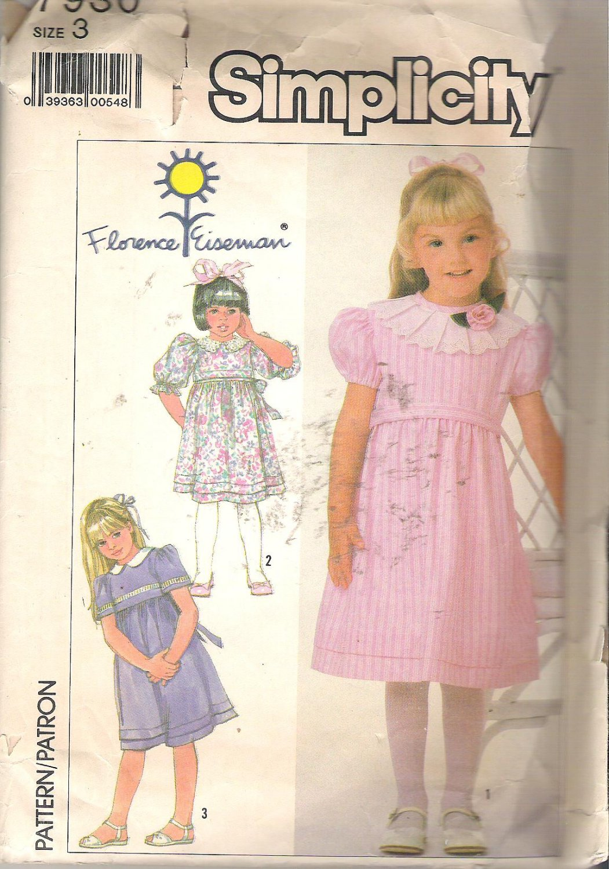 Simplicity 7930 (1986) Pattern Childs Girls Dress Sleeve Collar Variations Size 3 Part Cut