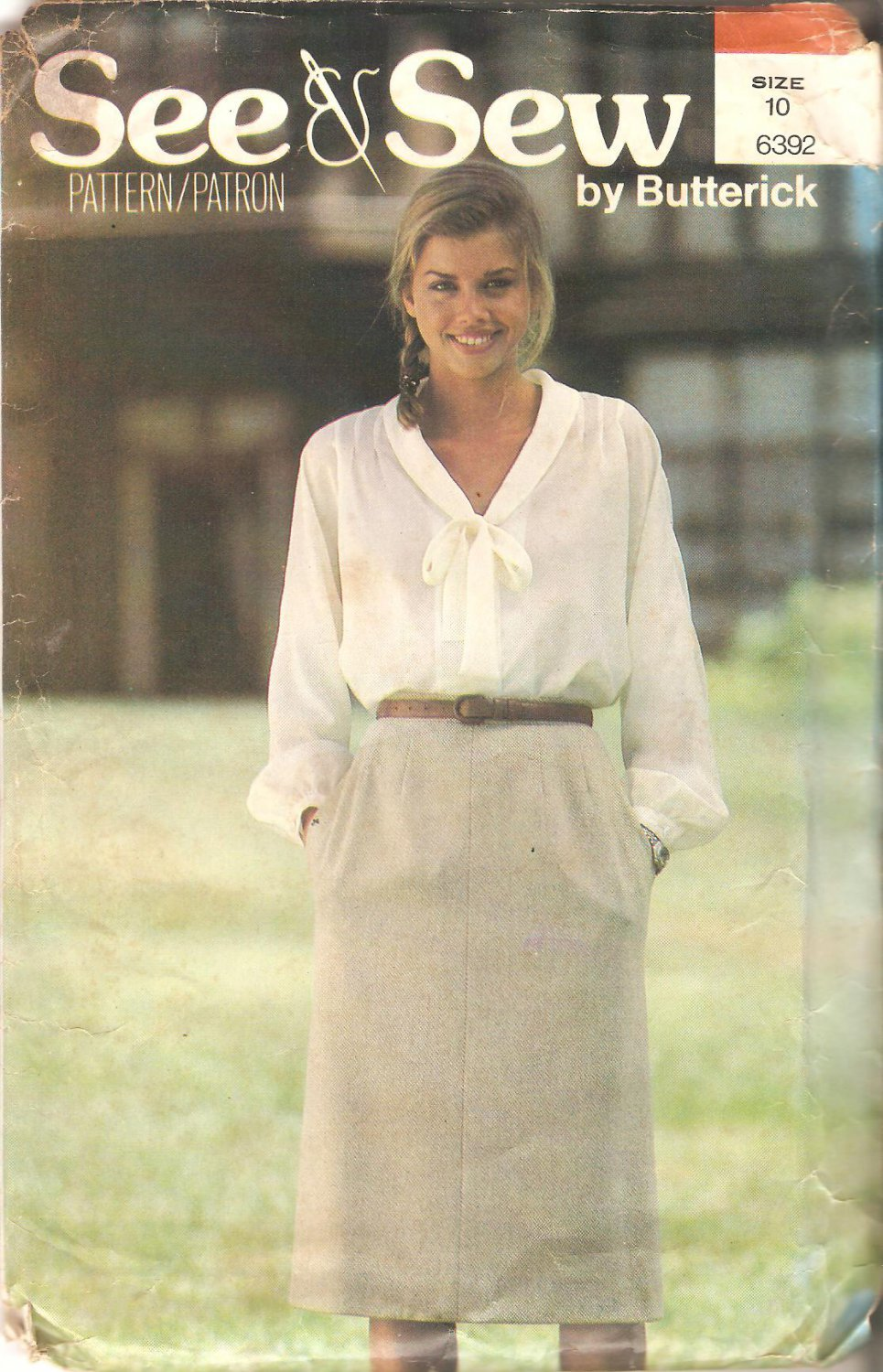 Butterick 6392 Pattern Shawl Collar Tie Blouse Straight Skirt Size 10  Uncut