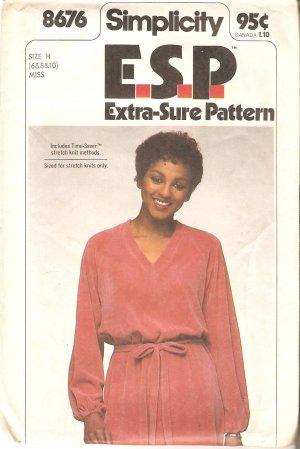Simplicity 8676 Vintage (1978) Pattern Pullover Dress Tie Belt Size 6 8 10 Uncut
