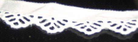 "White Cotton Tatting Look Scallop Trim  1"" x 18 yds"