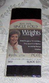"Wrights Black Single Fold Bias Tape 1/2"" x 4 yds"