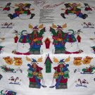 Christmas Moose Snowman Sleigh Mittens Birdhouses  Merry Christmoose Applique Panel Fabric