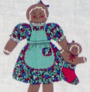 Christmas Gingerbread Doll Cut and Sew Fabric Panel