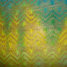 "Crochet Tatting Blue Green Yellow Fabric  52"" w x 2 1/3 yds"