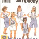 Simplicity 8953 (1994) Girls Shorts Front Tie Tops Lined Vest Pattern  Size 7-8-10  Uncut