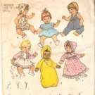 Simplicity 7208 (1975) Vintage Doll Dress Pants Romper Bunting Bonnet Pattern Size Medium Cut