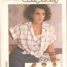 Simplicity 7283 (1985) Button Front Short Sleeve Shirt Bias Sleeveless Top Pattern Size 6-8-10 Uncut