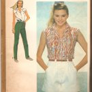 Simplicity 9552 (1980) Sleeveless Shirt Wide Leg Shorts Straight Leg Pants Pattern Size 12  Uncut