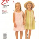 McCalls 2553 (2000) Childs Girls A-line Scoop Neck Sleeveless Dress Pattern Size 2-3-4-5 Uncut