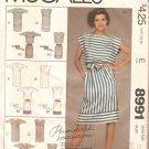McCalls 8991 (1984) Pullover Dress Top Opt Drawstring Shoulder Skirt Belt Pattern Size 10 Part Cut