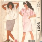 McCalls 9521 (1985) Pullover Dress Top Button Front Patch Pocket Pattern Size 6 8 10 Part Cut to 10