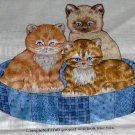 "Tabby Siamese Angora Kittens in Country Blue Pattern Basket Cut and Sew Fabric  12 1/2""L x 9""H"