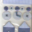 Jolee&#39;s Blue Gingham Sampler Ribbon Buttons Scrapbook Crafts Trim