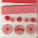 Jolee&#39;s Red Gingham Sampler Ribbon Buttons Scrapbook Crafts Trim