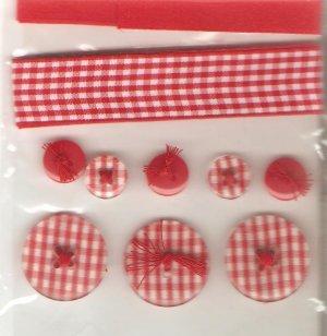 Jolee's Red Gingham Sampler Ribbon Buttons Scrapbook Crafts Trim