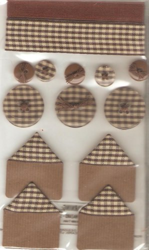 Jolee's Brown Gingham Sampler Ribbon Buttons Scrapbook Crafts Trim
