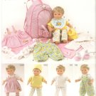 "Simplicity 1952 (2011) 15"" Doll Carrier Jumper Dress Top Pants Hat Bib Booties Pattern UNCUT"