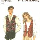 Simplicity 9285 (1996) Unisex Mens Womens Teens Classic Vest Pattern Size S M L XL
