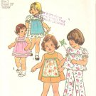 Simplicity 7409 (1976) Toddler Dress Top Pants  Pattern Size 1 Part Cut