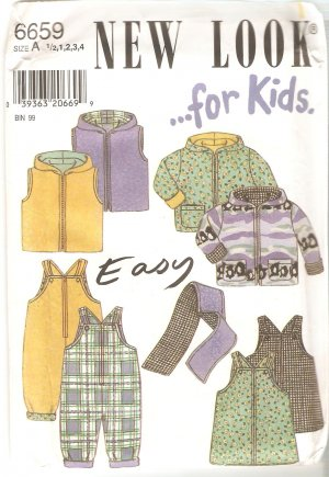 New Look 6659 Easy Childs Jacket Vest Romper Jumper Scarf Pattern Size 1/2 1 2 3 4 UNCUT