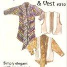 RARE Design&Sew #310 (1995) Japonais Shirt Vest Pattern  4 6 8 10 12 14 16 18 20 22 UNCUT