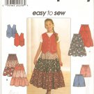 Simplicity 7611 (1997) Girls Top Vest Tier Skirt Shorts Pattern Size 7 8 10 Part Cut to 10