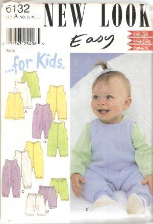 New Look 6132 Baby Romper Jumper Pants Dress Pattern Size Newborn Small Medium Large Part Cut Large