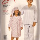 McCalls 9052 (1997) Boys Girls Nightshirt Hat Pajamas Booties Pattern Size 2 4 6 7 UNCUT