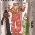 McCalls 7230 (1980) Adult Boys Girls Clown Costumes Pattern Size 10 12 PART CUT