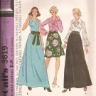 McCalls 3819 (1973) Skirt Pullover Blouse Pointed Collar Scarf Tie Belt Pattern Size 14 UNCUT