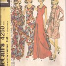 McCalls 4250 (1974) Dress Top Unlined Jacket Bell Bottom Pants Size 14 Pattern UNCUT