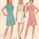 McCalls 2401 (1970) Misses Junior Lap Neck Keyhole Front Dress Pattern Size 16 UNCUT