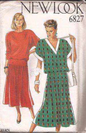"New Look 6827 ""V"" or Round Neck Drop Waist Raglan Sleeves Dress Pattern Size 8 10 12 1416 18 UNCUT"