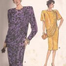 Vogue 9743 (1986) Very Easy Dress Draped Overlay Long Short Sleeve Pattern Size 14 16 18 CUT to 18