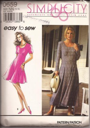 Simplicity 0659 (1992) Scoop Neck Gored Flared Skirt Dress Pattern Size 10 12 14 16 UNCUT
