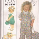 Simplicity 9275 (1989) Child Toddler Girls Overalls Carry Bag Pattern Size 1/2 1 2 3 UNCUT