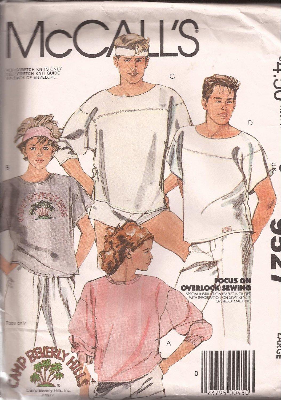 McCalls 9527 (1985) Misses Mens Pullover Tops Sweat T-Shirt Pattern Size Large UNCUT