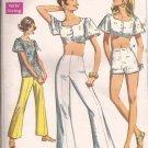 Simplicity 8113 (1969) Vintage Midi Top Back Button Blouse Pants Shorts Pattern Size 16 UNCUT
