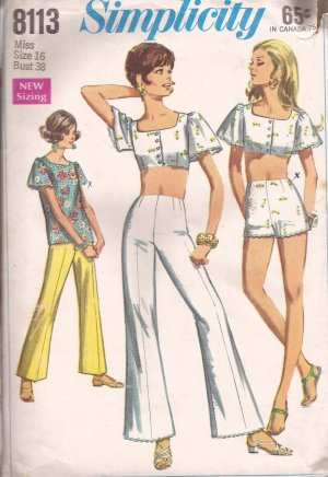 Simplicity 8113 (1969) Vintage Midi Top Back Button Blouse Pants Shorts Pattern Size 16 UNCUT