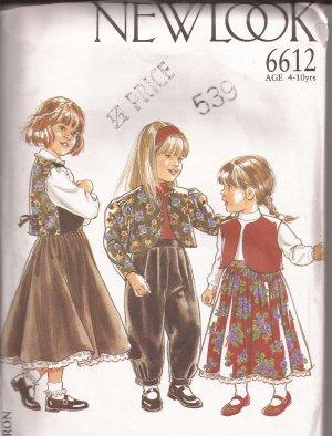New Look 6612 Girls Vest Jacket Skirt Pants Pattern Size 4 5 6 7 8 9 10