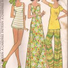 McCalls 3599 (1973) Vintage Maxi Dress Top Wide Leg Pants Short-Shorts Pattern Size 16 PART CUT