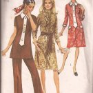 Simplicity 9170 (1970) Vintage Dress Tunic Front Zipper Button Trim Pattern Size 16 PART CUT