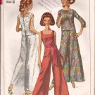 Simplicity 7023 (1967) Vintage One Piece Bell Bottom Jumpsuit Overblouse Pattern Size 16 PART CUT