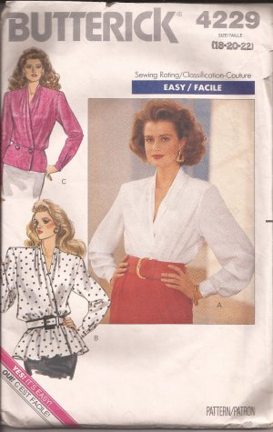 Butterick 4229 (1989) Wrap Blouse Peplum Variations Buttoned Cuffs Pattern Size 18 20 22 PART CUT