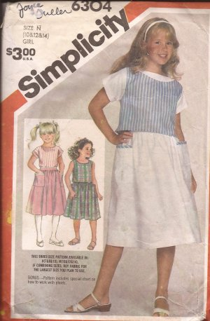 Simplicity 6304 (1983) Girls Tank Top Patch Pocket Skirt Cuff Sleeve Blouse Pattern Size 10 12 14