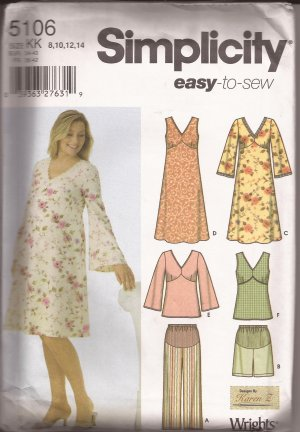 Simplicity 5106 (2004) Maternity Dress Tunic Crop Pants Shorts Pattern Size 8 10 12 14 UNCUT