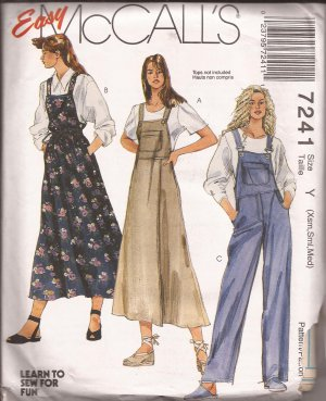 McCalls 7241 (1994) Jumper Dress Overalls Bib Pocket Pattern Size XS S M PART CUT