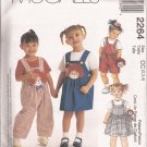 McCalls 2264 (1999) Toddler Raggedy Ann Andy Overalls Dress Applique Purse Doll Pattern 2 3 4 UNCUT